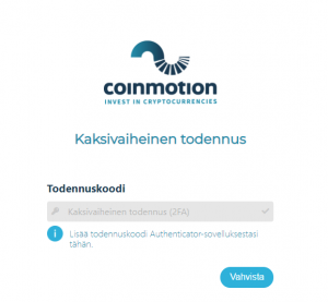 Coinmotion authentication