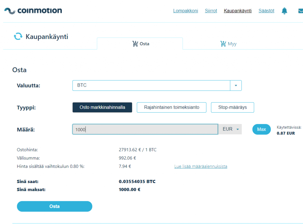Kuinka ostaa Bitcoineja Coinmotionissa